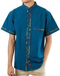 Men's Fiesta Button Down Shirt - Indigo Blue