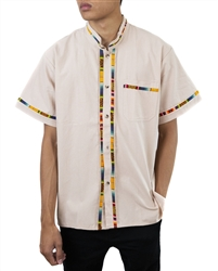 Men's Fiesta Button Down Shirt - Light Tan