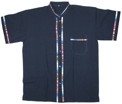 Men's Fiesta Button Down Shirt - Navy Blue