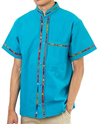 Men's Fiesta Button Down Shirt - Turquoise
