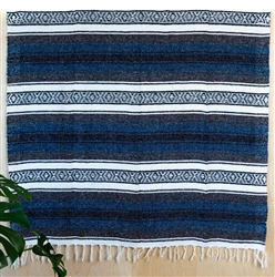 Navy Blue Mexican Falsa Blanket from Mexico