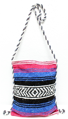 Mexican Blanket Bag with Rope Strap - Pink/Blue