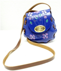Latigo Tooled Leather Purse - Blue