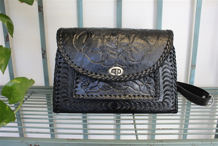 Mexican Hand Tooled Leather Purse - Cincelado 3