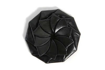 Flower Coin Leather Purse - Black