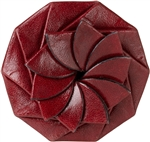 Flower Coin Leather Purse - Burgundy