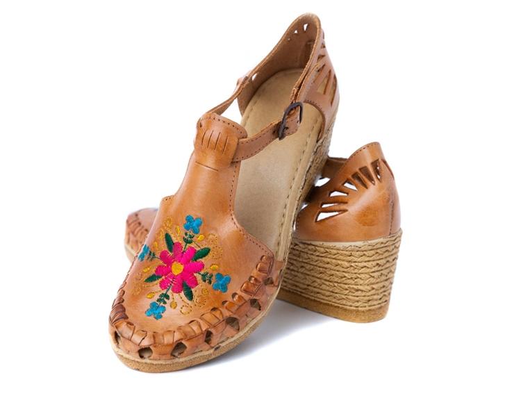 Mexican Huarache Wedge Sandals Handmade