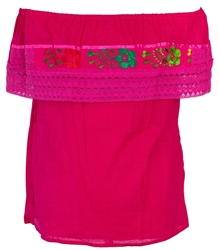 Shop Mexican Pueblo Crochet Blouse - Fuchsia