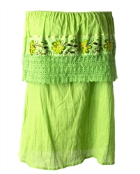 Mexican Campesina Crochet Blouse - Lime Green
