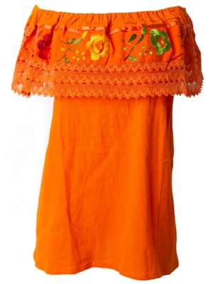Mexican Pueblo Crochet Blouse - Orange