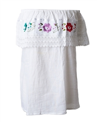 Shop for Mexican Pueblo Crochet Blouse - White
