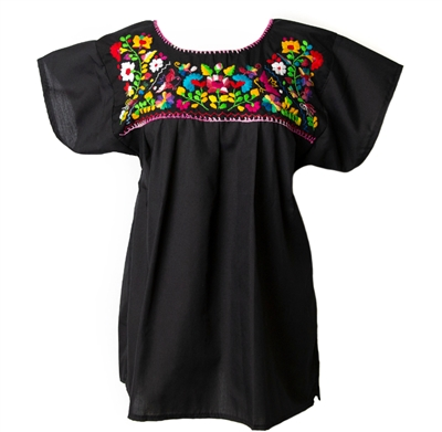 Mexican Embroidered Pueblo Blouse - Black