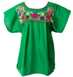 Mexican Embroidered Pueblo Blouse - Green