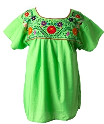 Mexican Embroidered Pueblo Blouse - Lime Green