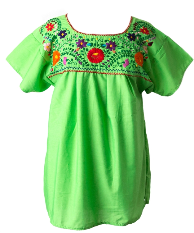 f839e820343046 Mexican Embroidered Pueblo Blouse - Lime Green