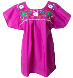 Mexican Embroidered Pueblo Blouse - Magenta