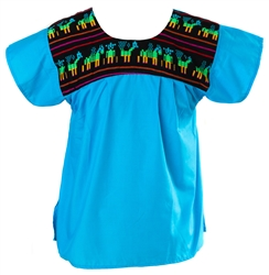 Tribal Mexican Blouse - Turquoise