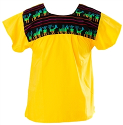 Tribal Mexican Blouse - Yellow
