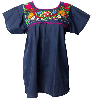 Mexican Embroidered Pueblo Blouse - Navy Blue