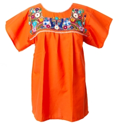 Mexican Embroidered Pueblo Blouse - Orange