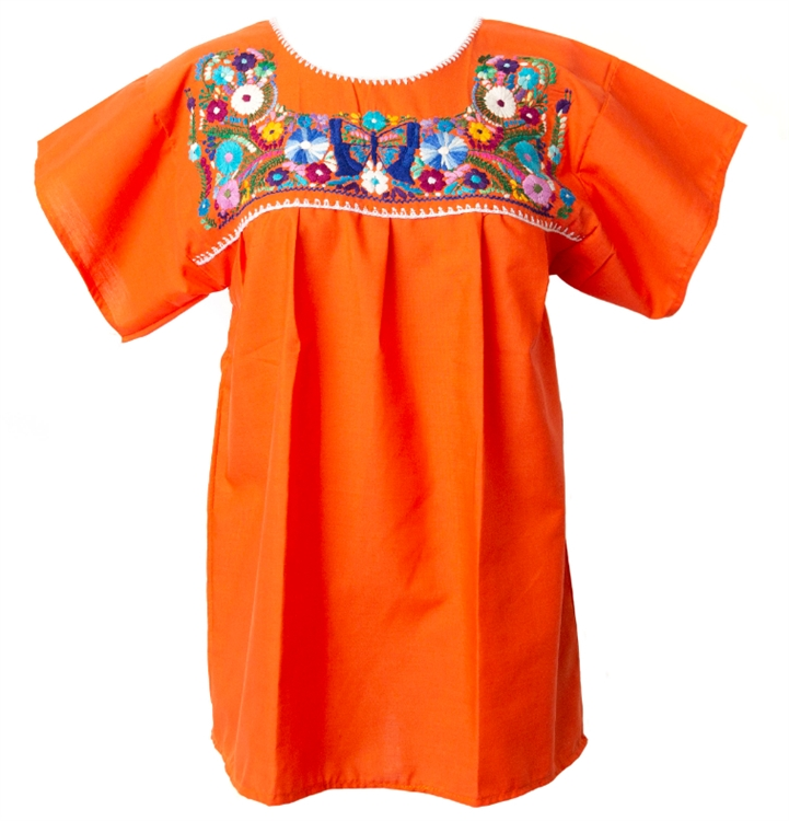 f9b02754590128 Mexican Embroidered Pueblo Blouse - Orange