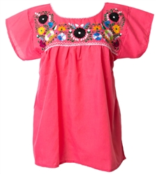 Mexican Embroidered Pueblo Blouse - Pink