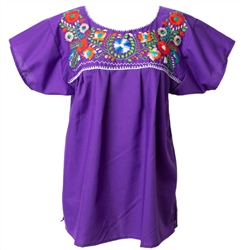 Mexican Embroidered Pueblo Blouse - Purple