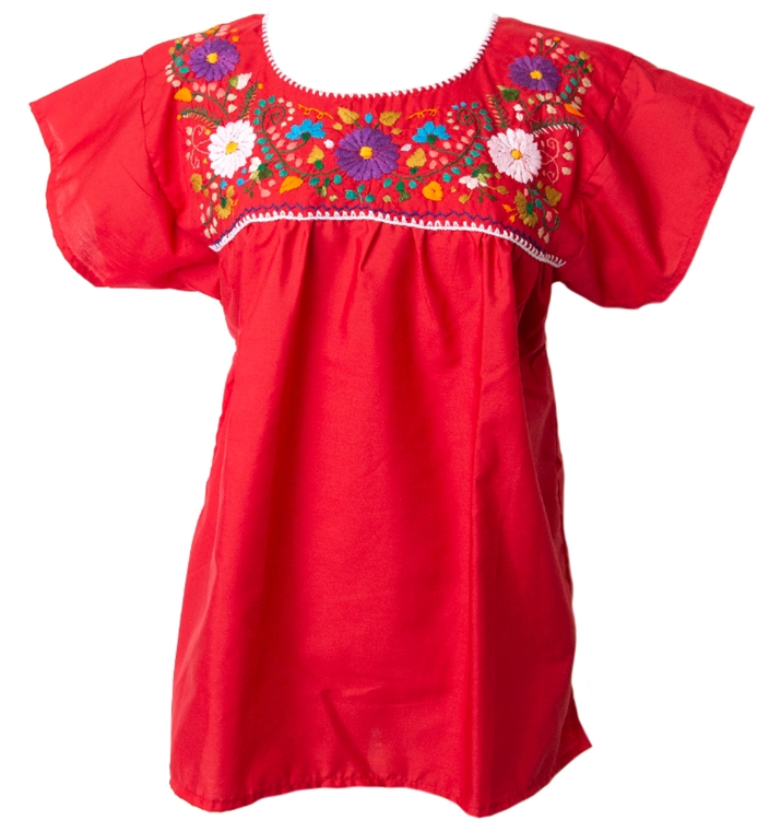 Mexican Embroidered Pueblo Blouse - Red