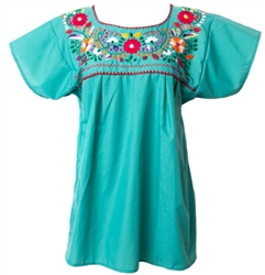 Mexican Embroidered Pueblo Blouse - Teal