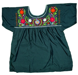 (2XL) Mexican Embroidered Pueblo Blouse - #110