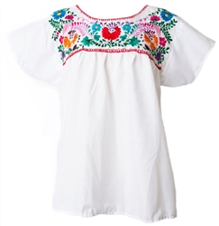 Mexican Embroidered Pueblo Blouse - White