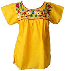 Mexican Embroidered Pueblo Blouse - Yellow