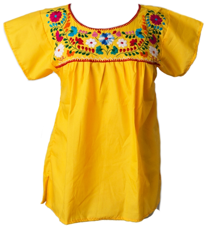 4e66b06b0a72fe Mexican Embroidered Pueblo Blouse - Yellow