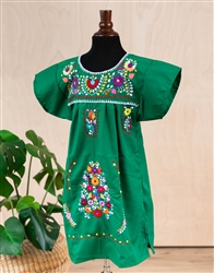 Girls Mexican Embroidered Pueblo Dress - Green