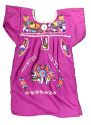 Girls Mexican Embroidered Pueblo Dress - Magenta