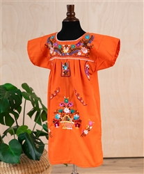 Girls Mexican Embroidered Pueblo Dress - Orange