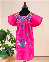 Girls Mexican Embroidered Pueblo Dress - Pink