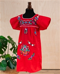 Girls Mexican Embroidered Pueblo Dress - Red