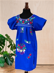 Girls Mexican Embroidered Pueblo Dress Royal Blue
