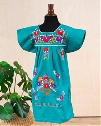 Girls Mexican Embroidered Pueblo Dress - Teal