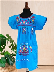 Girls Mexican Embroidered Pueblo Dress - Turquoise
