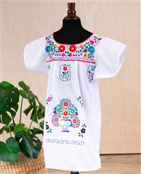 Girls Mexican Embroidered Pueblo Dress - White