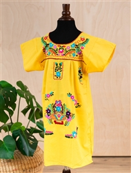 Girls Mexican Embroidered Pueblo Dress - Yellow