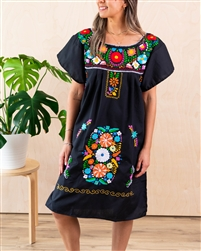 Knee Length Mexican Embroidered Pueblo Dress - Black