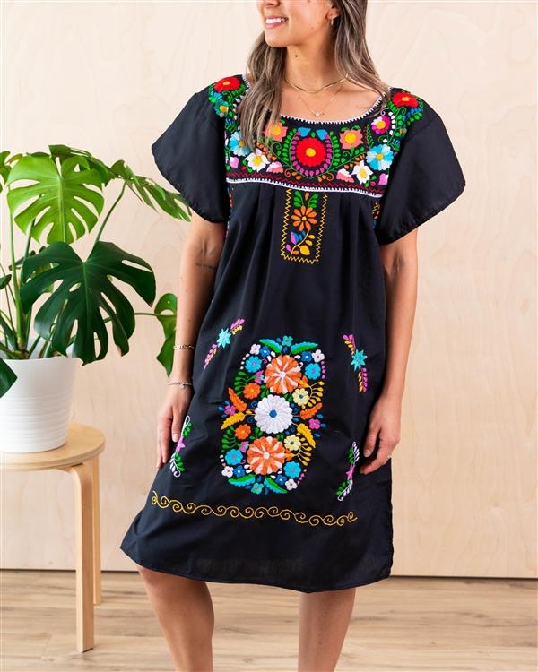 de2075b7c45 Knee Length Mexican Embroidered Pueblo Dress - Black