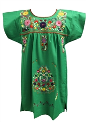 Knee Length Mexican Embroidered Pueblo Dress - Green