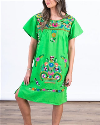 Knee Length Mexican Embroidered Pueblo Dress - Lime Green