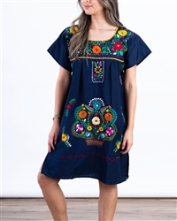 Knee Length Mexican Embroidered Pueblo Dress - Navy Blue