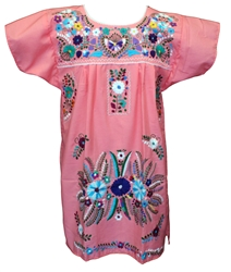 Knee Length Mexican Embroidered Pueblo Dress - Peach