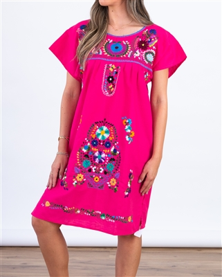 Knee Length Mexican Embroidered Pueblo Dress - Pink